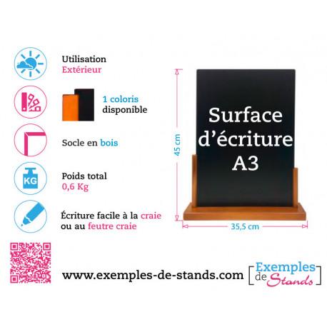 Porte menu de table ardoise pvc3mm avec socle en bois 45x35,5cm