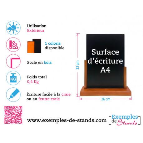 Porte menu de table ardoise pvc3mm avec socle en bois 33x26cm