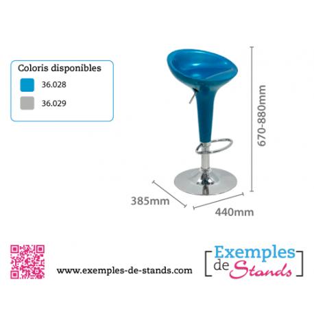 Tabouret de bar design bleu metallisé - STYLUS